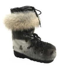 Botte Mukluks - Fourrure de Loup Marin Naturel et Bande de Coyote Naturel